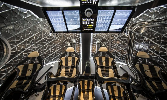 The interior of the Dragon V2 of the next generation astronaut spacecraft on May 29, 2014. (SpaceX)