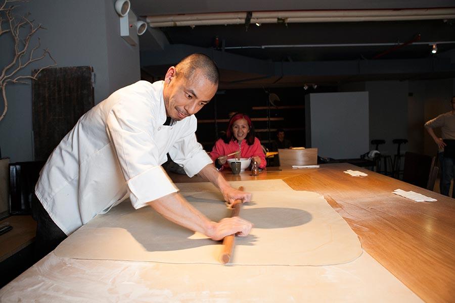 Shuichi Kotani making soba at Nikai restaurant in Manhattan, New York. (Samira Bouaou/Epoch Times)