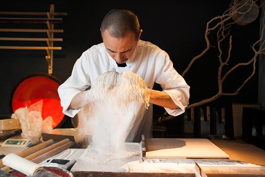 Soba, in this incarnation a mix of 80 percent buckwheat and 20 percent wheat, take form. (Samira Bouaou/Epoch Times)