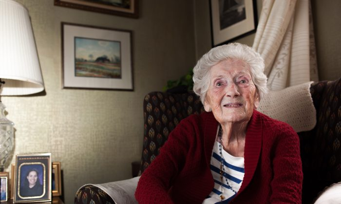 Helen Duffy, Senator Thomas Duffy's 106-year-old widow, in her home in Queens, New York, on April 17, 2015. (Petr Svab/Epoch Times)