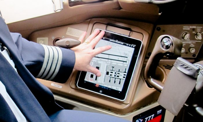 An iPad that American Airlines pilots use for their flight plans. On Tuesday night a number of American Airlines aircrafts were grounded after the flight plan software on the iPads stopped working. (American Airlines)