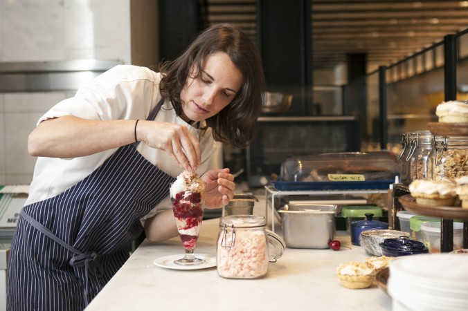 Pastry chef Tracy Obolsky assembles the Cherry Cola Sundae at North End Grill. (Samira Bouaou/Epoch Times)