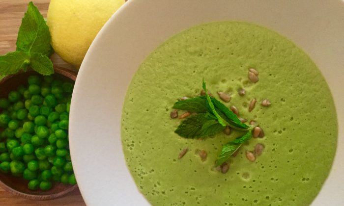 Peas create a lovely, high-protein base for this light, spring soup. (Courtesy of Embody Wellness)