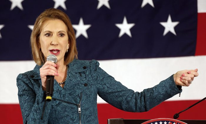 Carly Fiorina speaks at the Republican Leadership Summit on April 18, 2015, in Nashua, N.H. (AP Photo/Jim Cole)