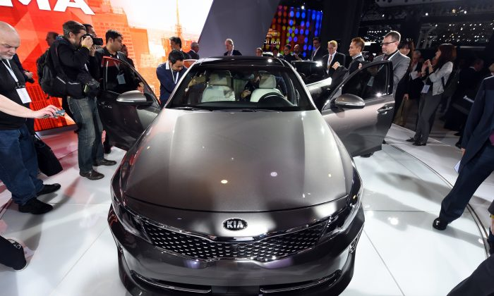 Kia'S Optima sedan at the 2015 New York International Auto Show on April 1, 2015. AFP PHOTO / TIMOTHY A. CLARY (Timothy A. Clary/AFP/Getty Images)