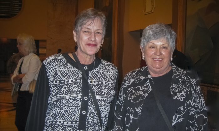 Ms. Debi Anthony (L) and Ms. Scarlett Cameron found the Shen Yun Orchestra to be stunning, at Music Hall, in Kansas City, Missouri, May 5. (Epoch Times Staff)