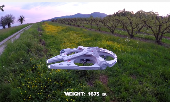 The latest version of the Millennium Falcon drone (screenshot: Olivier C YouTube)