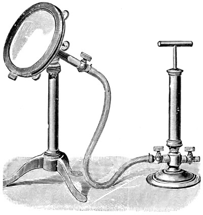 A clumsy attempt by Western scientists of the 19th century to reproduce a Chinese or Japanese magic mirror using pressure from an air pump, from the book