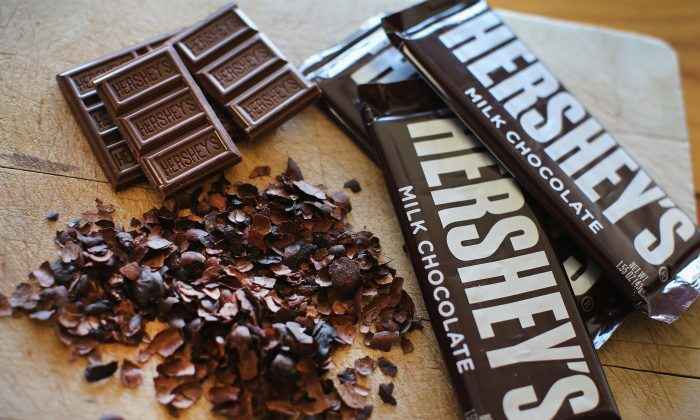 Hershey's chocolate bars are shown on July 16, 2014 in Chicago, Illinois. (Photo Illustration by Scott Olson/Getty Images)