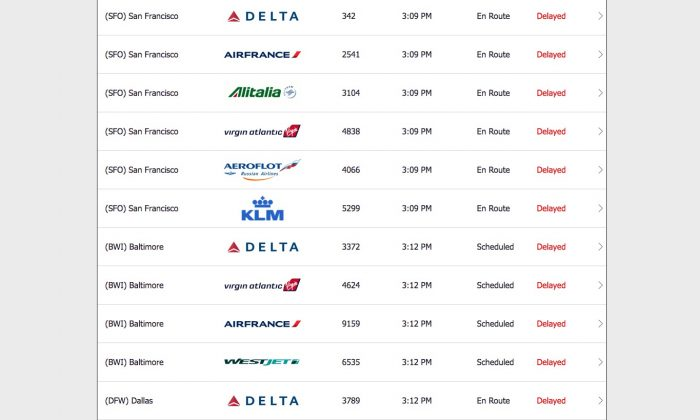 Screenshot taken at 3:12 p.m. on May 12 the arrival and departure information for JFK Airport (flightstats.com)