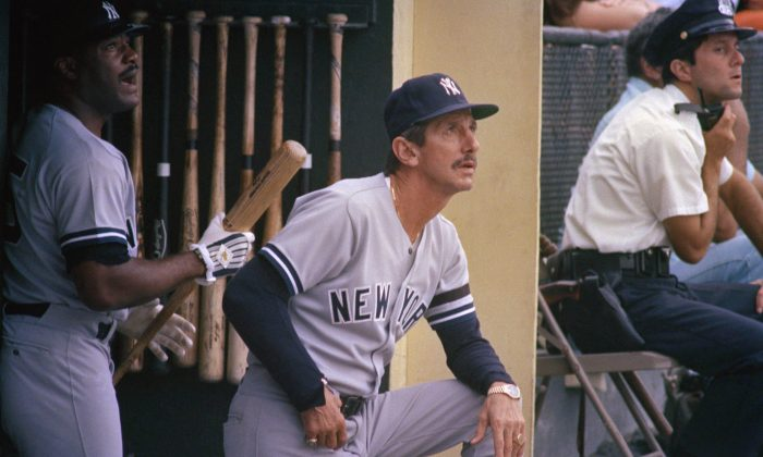 Former Yankees Manager Billy Martin (C) had five tours of duty in pinstripes winning the 1977 World Series with them. (AP Photo/Joe Giza)