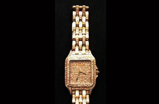 A gold Cartier diamond encrusted watch was left behind at Newark Airport security. (TSA)