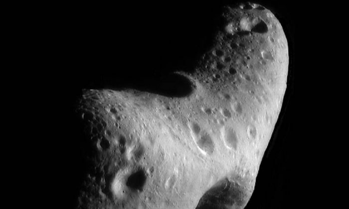 An image of Eros taken by NASA's Near Earth Asteroid Rendezvous mission in 2000.  (NASA/JHUAPL)