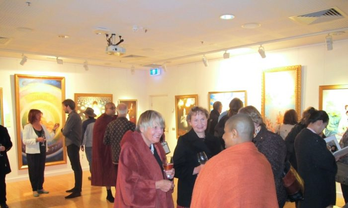 The Shirley Burke Theatre Gallery hosts the Art of Zhen Shan Ren. Some 50 guests braved the winter weather to attend the opening of the Art of Zhen Shan Ren.