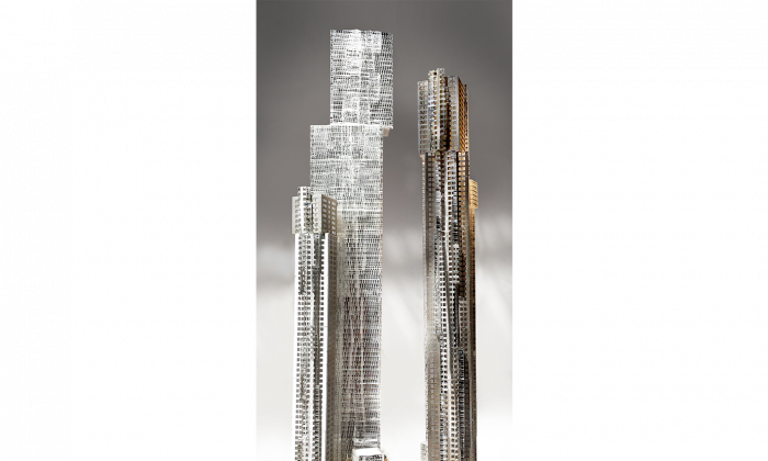 Rendering of Mirvish+Gehry Toronto, which consists of two towers—one 92 storeys, the other 82—with 1,950 residential units. The base will have an art gallery housing the Mirvish Collection and an OCAD University facility. (Courtesy of Projectcore)