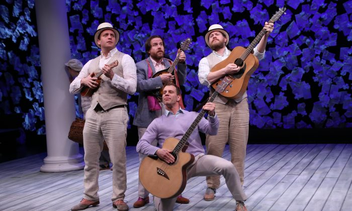 """(L–R) Actors Zachary-Fine, Paul-L-Coffey, Noah-Brody, and Andy Grotelueschen double as musicians in the Fiasco Theater Company's rendition of """"The Two Gentlemen of Verona."""" (Gerry Goodstein)"""