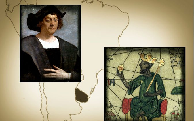 Gold that Columbus found in the Americas seems to have come from West Africa, one indication among several that a West African expedition may have preceded him. Left: Christopher Columbus, painted by Sebastiano del Piombo, 1519. Right: Mansa Musa, a 14th century ruler of the Mali Empire as depicted in the Catalan Atlas, 1375. Background: Uruguay is highlighted on a map of South America. (Wikimedia Commons)
