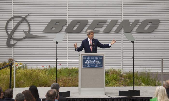 U.S. Secretary of State John Kerry at the Boeing 737 airplane factory in Renton, Wash., on May 19, 2015. Kerry visited Boeing to discuss trade issues, including the Trans-Pacific Partnership. (David Ryder/Getty Images)