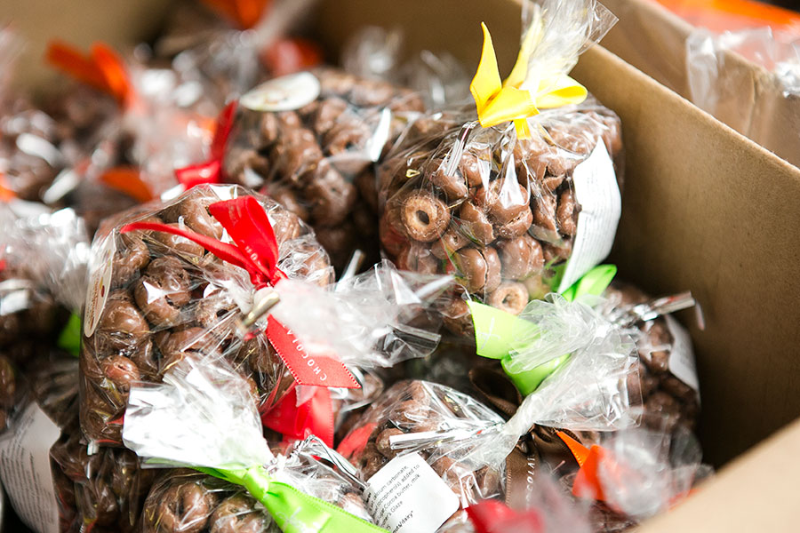 A box of freshly made chocolate covered Cheerios. (Samira Bouaou/Epoch Times)