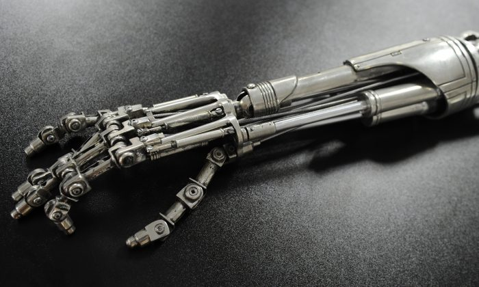 A prop endoskeleton arm from the movie 'Terminator 2: Judgement Day. (MARK RALSTON/AFP/Getty Images)