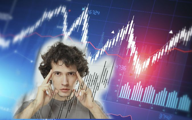 Illustration of a financial diagram (Solar Seven/iStock) Image of a man making a financial prediction (Lukas ZB/iStock)
