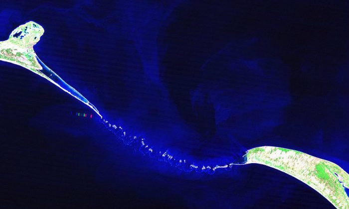 Adam's Bridge, also known as Rama's Bridge, or Ram Setu, between India and Sri Lanka. (NASA)