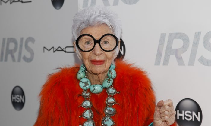 """Iris Apfel at the premiere of """"Iris"""" at the Paris Theatre in New York on April 22, 2015. (Andy Kropa/Invision/AP)"""