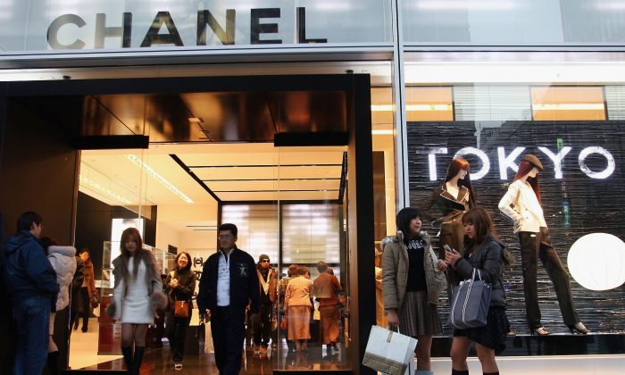 The main entrance of the Chanel Ginza Building in Tokyo's Ginza shopping district in this file photo. (Koichi Kamoshida/Getty Images)