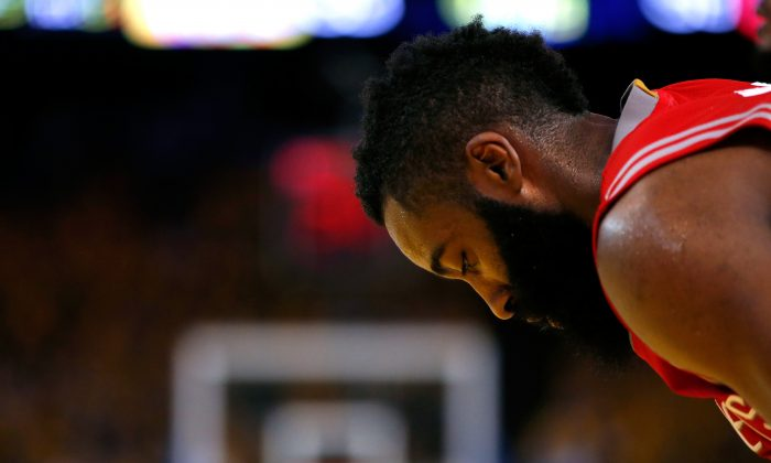 James Harden of the Houston Rockets had a playoff record 13 turnovers in the Game 5 loss to Golden State that ended Houston's season. (Ezra Shaw/Getty Images)