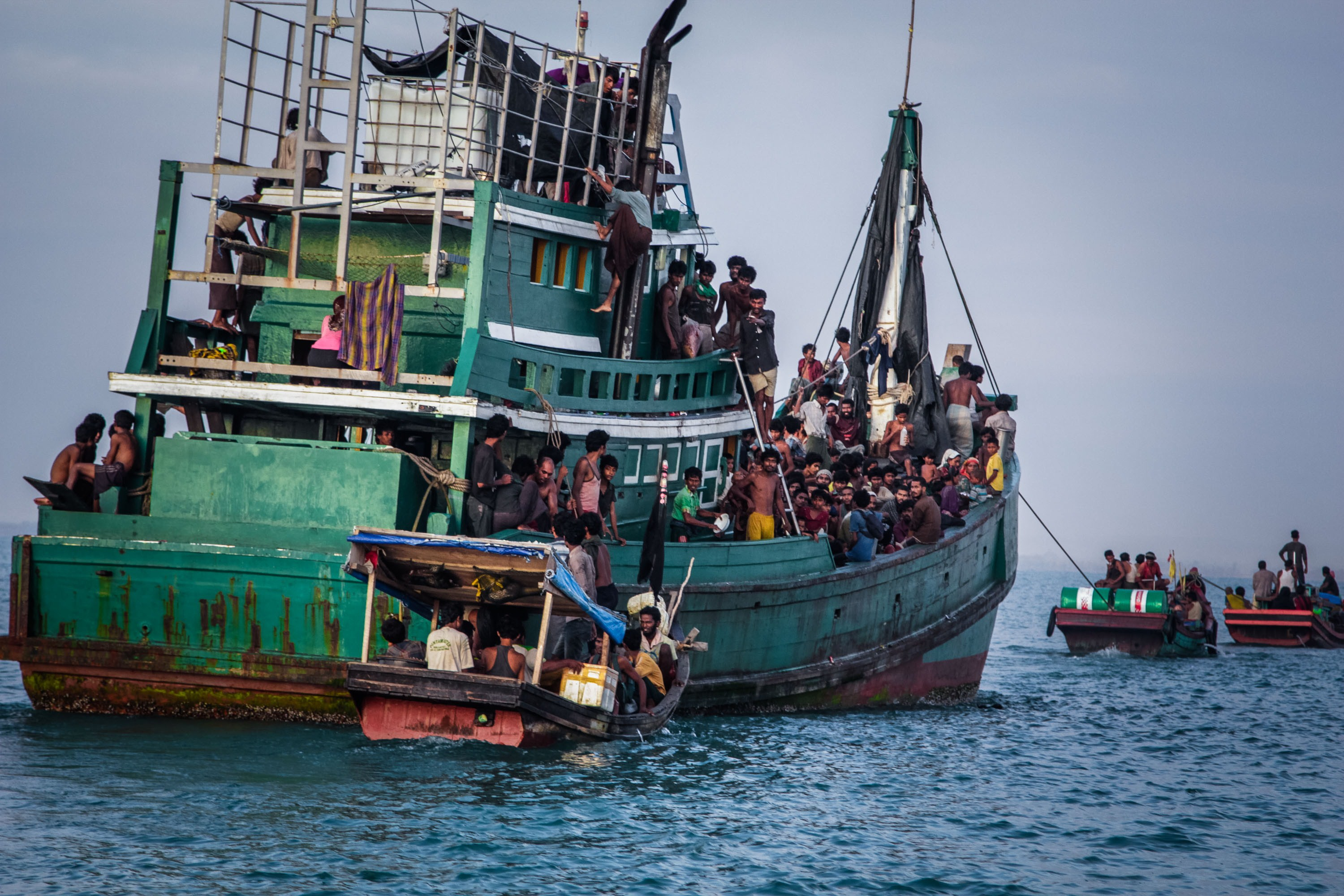 Rohingya migrants on a boat off Indonesia's coast await rescue on May 20. The Muslim Rohingya minority group is fleeing persecution in Burma. (JANUAR/AFP/Getty Images)