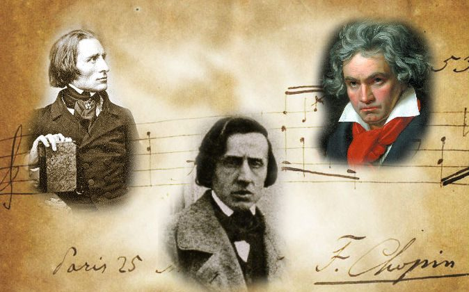 Left: Composer Franz Liszt in 1843 (Herman Biow) Center: Composer Frederic Chopin, ca. 1849 (Louis-Auguste Bisson) Right: A portrait of Ludwig van Beethoven, 1820, by Joseph Karl Stieler Background: Autographed music by Frederic Chopin (Wikimedia Commons)