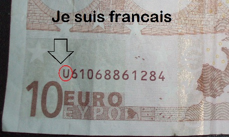 """This euro note with the letter """"U"""" in front of the serial number was printed in France."""