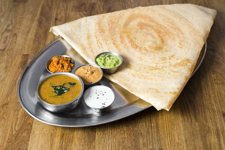 The Madurai Podi Masala  Dosa, with a filling of  spiced potatoes. (Samira Bouaou/Epoch Times)