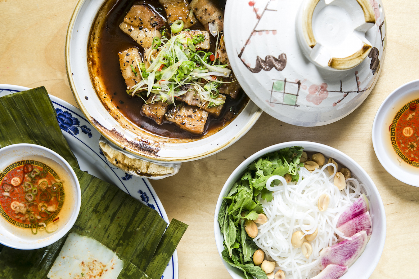 An assortment of Vietnamese dishes, prepared at a  pop-up collaboration  between Huynh and  chef Leah Cohen. (Samira Bouaou/Epoch Times)