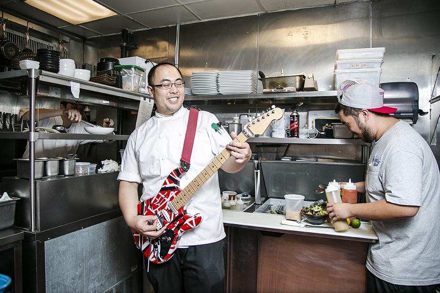 Chef Brian Tsao in his natural habitat: jam sesh in the kitchen. (Samira Bouaou/Epoch Times)
