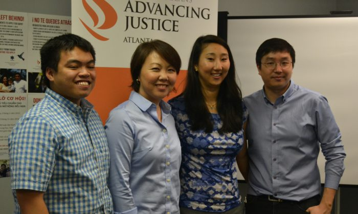 Raymond Partolan, Helen Kim Ho, Sara Hamilton and James Woo at Asian Americans Advancing Justice in Atlanta on June 22, 2015. (Mary Silver/Epoch Times)