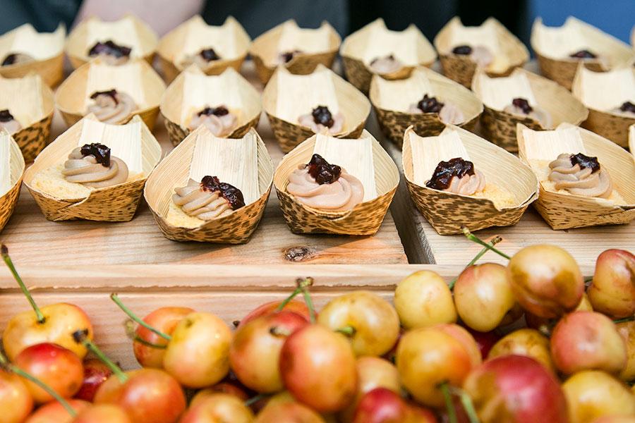 Foie Gras Mousseline: Bing Cherries, Almond Brioche. (Jan Jeklielek/Epoch Times)