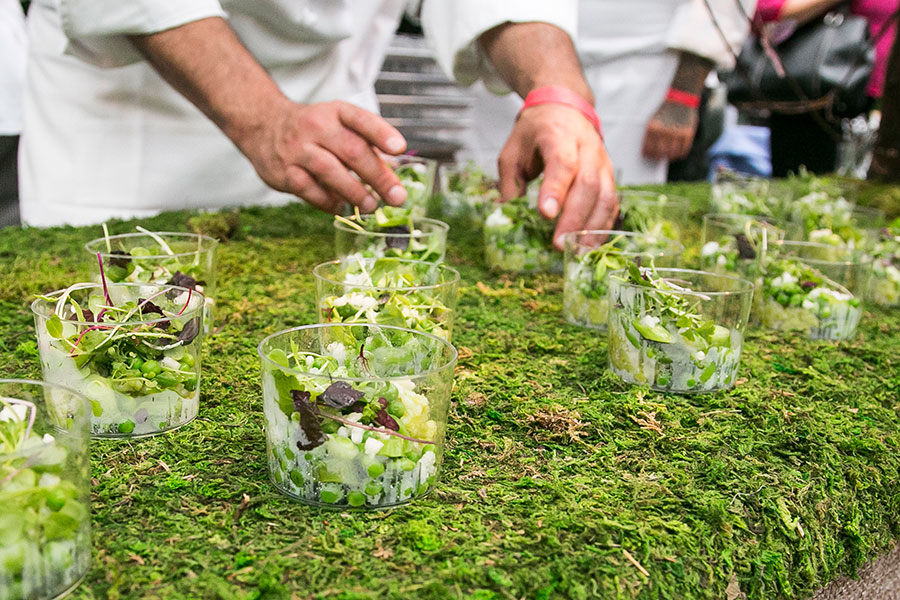 Fermented Green Chili Risotto, Vegetable Bouquet & Wild Sprouts from Jean-Georges. (Jan Jeklielek/Epoch Times)