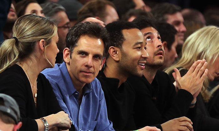 ctor Ben Stiller and singer John  Legend attend the game between the New York Knicks and the Los Angeles Lakers at Madison Square Garden.  (Bruce Bennett/Getty Images)