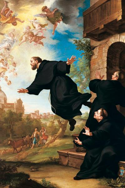 Levitation was well documented in the case of Saint Joseph of Cupertino, who was considered something of a nuisance by the Church. There is no reason to consider the Church's account fabricated. (Public Domain)