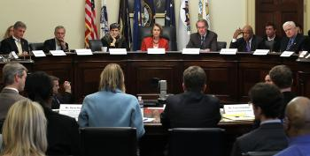 JOB PANEL: (L-R) U.S. Rep. Robert Andrews (D-N.J.), Rep. Earl Blumenauer (D-Ore.), Rep. Rosa DeLauro (D-Conn.), House Minority Leader Rep. Nancy Pelosi (D-Calif.), Rep. Edward Markey (D-Mass.), Rep. Elijah Cummings (D-Md.), Rep. Jim Moran (D-Va.) listen to testimony during a hearing before the House Democratic Steering and Policy Committee Feb. 28 on Capitol Hill in Washington. (Alex Wong/Getty Images)