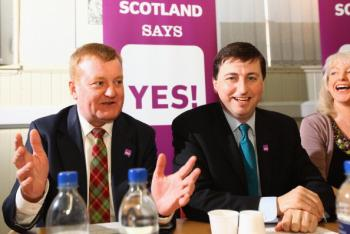 Charles Kennedy Liberal Democrat MP, and Douglas Alexander Labour MP, attend the launch of the fairer votes campaign on April 1, 2011 in Glasgow, Scotland. Activists are campaigning for an alternative to replace the first past the post voting system in the referendum on May the 5th, the same day as the Scottish Election.  (Jeff J Mitchell/Getty Images)