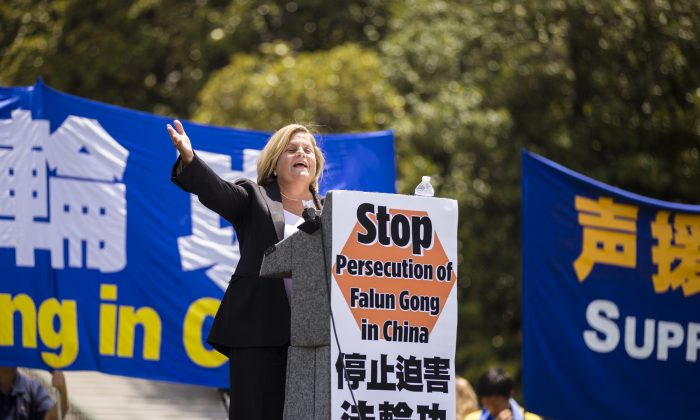 Congresswoman Ileana Ros-Lehtinen (R-FL) speaks at a Falun Gong rally on Capitol Hill in Washington on July 16. (Edward Dai/Epoch Times)