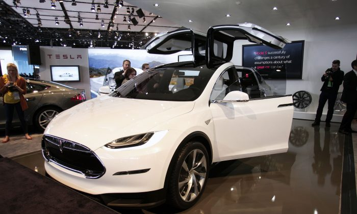 The Tesla Model X is shown at the 2013 North American International Auto Show media preview January 15, 2013 in Detroit, Michigan. (Bill Pugliano/Getty Images)
