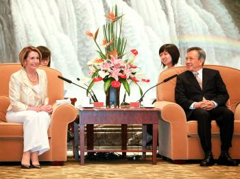 House Speaker Nancy Pelosi meets with Chairman Liu Yungeng of the Shanghai City People's Congress. (Qilai Shen/Getty Images)