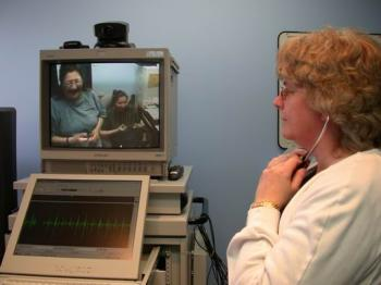 Videoconferencing and a specialized stethoscope allow a health care provider at a health centre to listen to the heart and breathing of a patient in a remote community. Keewaytinook Okimakanak Telemedcine is Canada's largest First Nations telemedicine network offering clinical, educational, and administrative services to remote communities in northern Ontario. (Keewaytinook Okimakanak Telemedicine)