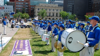 The Tian Guo Marching Band performing at the rally on July 12 on Parliament Hill in Ottawa. The band members all practise Falun Gong, a spiritual discipline facing persecution in communist China. (Samira Bouaou/The Epoch Times)