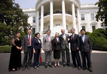 """President Bush shown Tuesday during his meeting with Chinese dissidents (left to right) Ciping Huang, Wei Jingsheng, Sasha Gong, Alim Seytoff, interpreter; Rebiya Kadeer, Harry Wu and Bob Fu. Later, Bush """"dropped by a meeting"""" with the Communist Chinese Foreign Minister, Yang Jiechi. The White House news release made only minor mention that Bush also met the visiting Chinese Foreign Minister on the same day. (Eric Draper/White House)"""