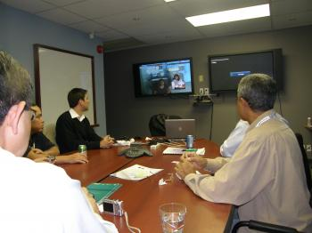 Brazilian delegates at a telehealth conference in Ottawa in October 2008 met by videoconference with Kingfisher Lake First Nation representatives. (Courtesy of Keewaytinook Okimakanak Telemedicine)