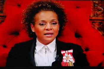Governor General Michaelle Jean delivers the speech from the throne in the Senate Chamber to a gathering of Parliamentarians, including members of the Senate and the House of Commons; the judges of the Supreme Court; and guests on March 3, 2010. (NTDTV)